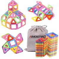 AMOSTING Magnetic Toys Building Tiles Blocks Stack Set 64 Pcs