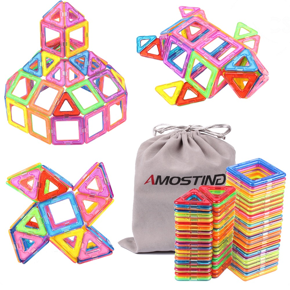 AMOSTING Magnetic Toys Building Tiles Blocks Stack Set 64 Pcs