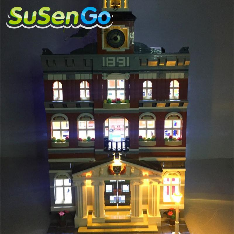 SuSenGo LED Light Kit for Town Hall Lepin 15003 Compatible with Famous Brand 10224 Building Blocks Toys Creator Light Set lepin 15003 2859pcs city creator town hall sets model building kits set blocks toys for children compatible with 10024