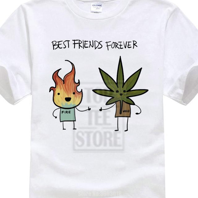 79320ea3 Men Funny Print Smoke Weed Printed Best Friend Forever T Shirt Short Sleeve  O Neck Summer Casual Tshirt