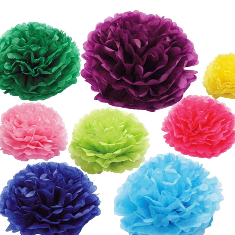 Large Colorful Tissue Paper Pom Poms 16 Colors 12 Inch 30cm