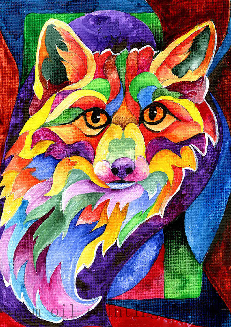 Pintados À mão Arte Da Parede Pintura Pintura A Óleo sobre Tela Home Decor Colorido Animais Raposa Palete Faca Pintura de Artesanato