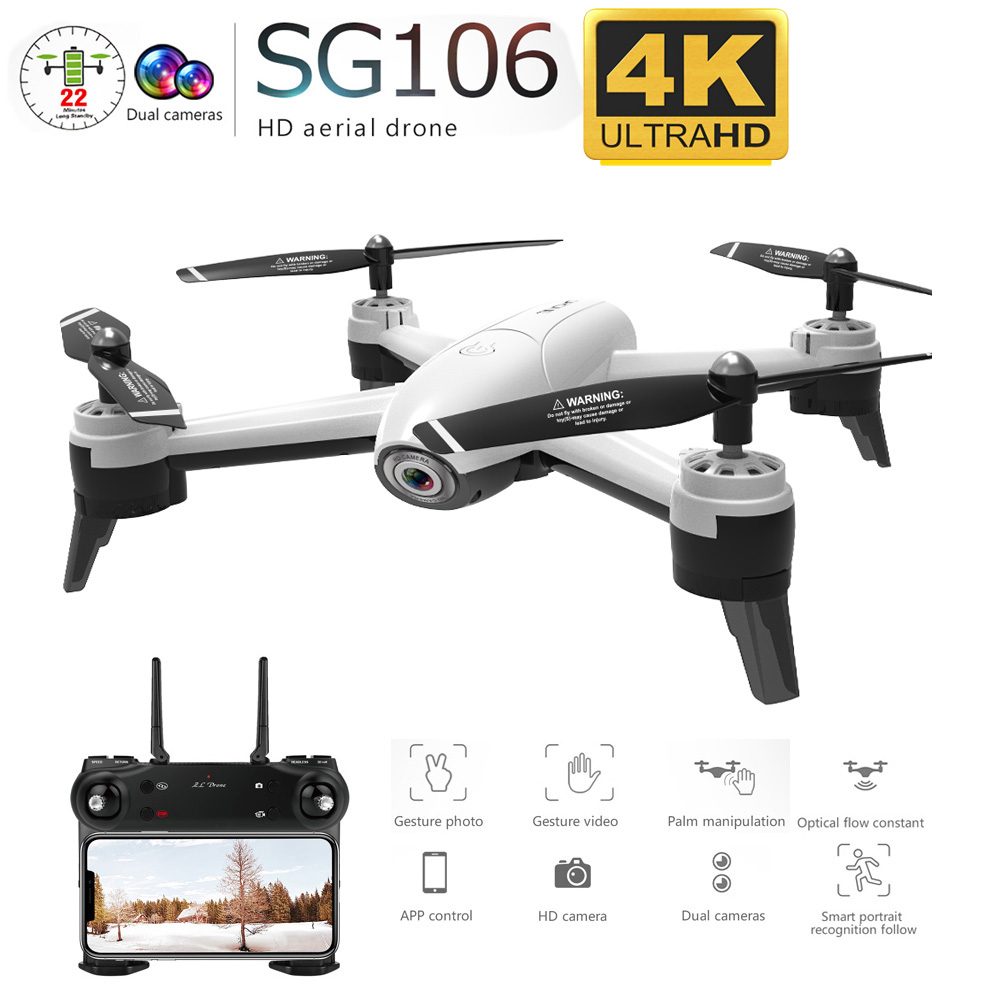 SG106 WiFi FPV RC Drone 4K Camera Optical Flow 1080P HD Dual Camera Aerial Video RC Quadcopter Aircraft Quadrocopter Toys Kid-in RC Helicopters from Toys & Hobbies