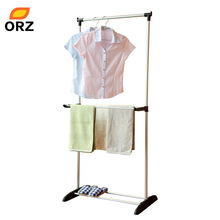 ORZ Foldable Clothes Hanger Metal Duty Storage Rack Adjustable Laundry Drying Holder Shoes Garment Clothes Organizer Hanger Rack