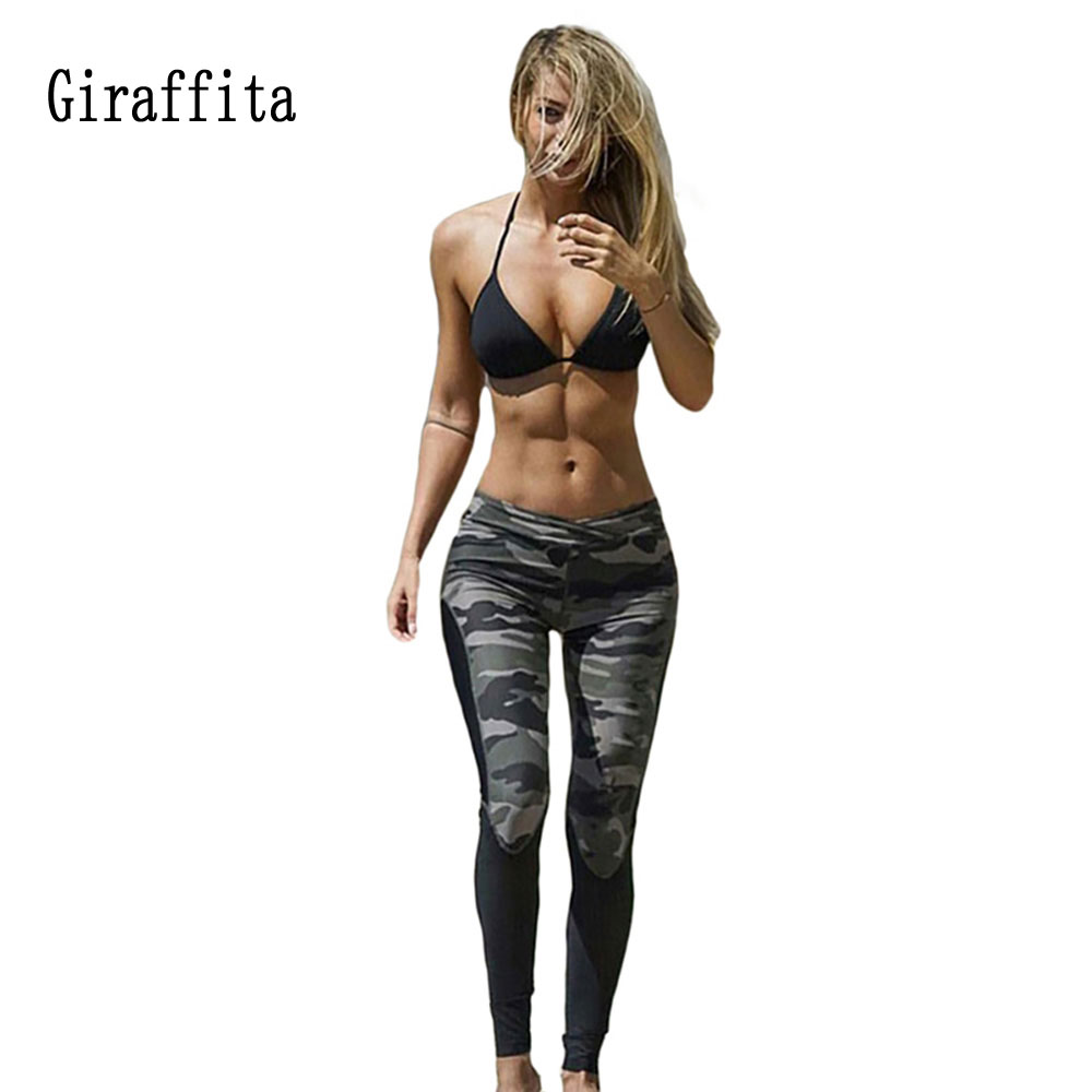 2017 Giraffita Womens Workout Leggings Skinny Fitness Trouser High Waist Slim Pants Camouflage Running Pant