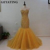 כבד חרוזים קריסטל בת ים שמלות נשף זהב אפריקאי הבנות שחור שמלת ערב 2018 ארוך מתוקה פורמליות מפלגת שמלות