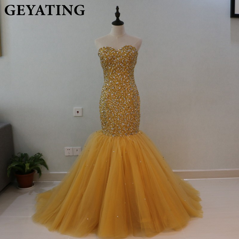 Heavy Beaded Crystal Gold Mermaid   Prom     Dresses   for Black Girls African Evening   Dress   2019 Long Sweetheart Formal Party Gowns
