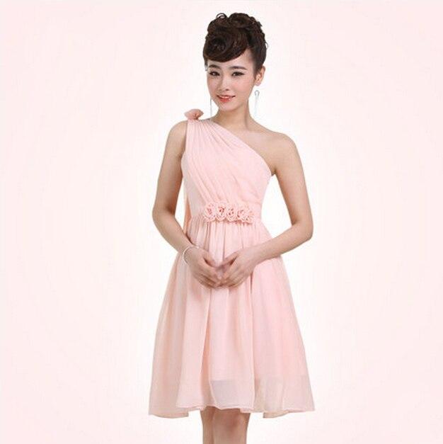 semi formal pink online chiffon ladies girls simple elegant dress ...