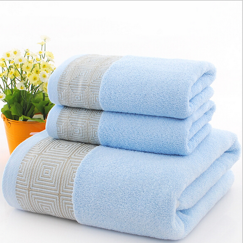 Hot 3 Pcs/set Blue Cotton Towel Sets Geometric Embroidered Quick-Dry  Soft for  Home and  Hotel Free Shipping