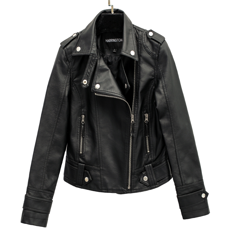 Autumn Street Women's Short Washed PU Leather   Jacket   Zipper Bright Colors Ladies   Basic     Jackets   Slim Fit Women Coats