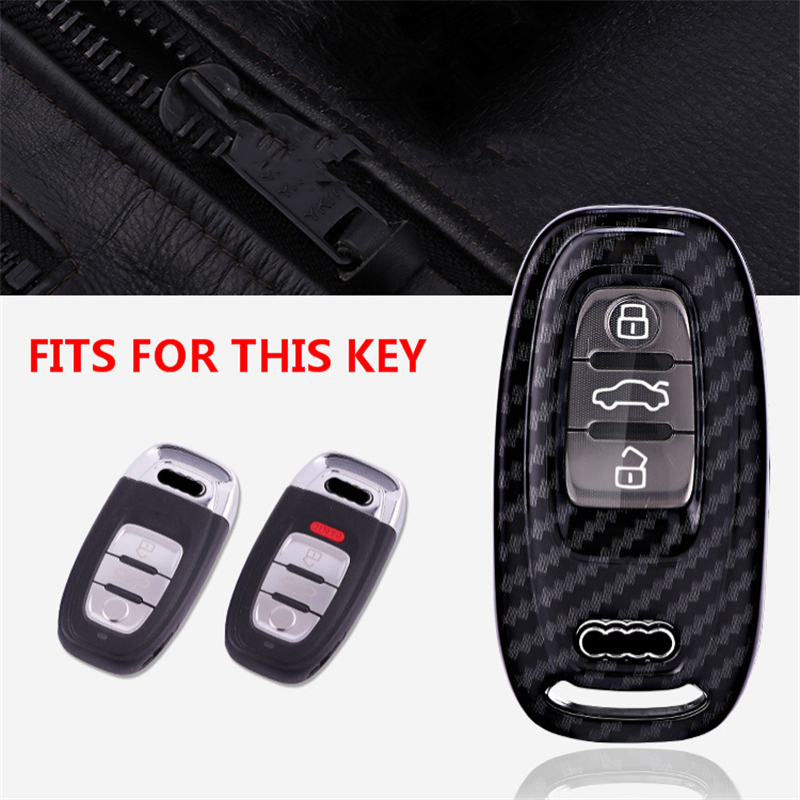Image 2 - Carbon fiber+PC Protection Car Key Cover Case For Audi A6L A4L Q5 A3 A4 B6 B7 B8 Smart Carbon Fiber Grain Shell Accessories-in Key Case for Car from Automobiles & Motorcycles