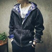 Sıkıntılı erkek denim ceket hoodie ile vintage boy jean ceket erkekler siyah gri boyutu M-4XL