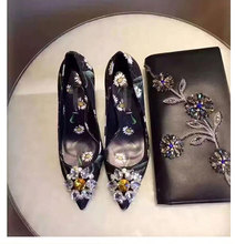 blingbling diamonds flower print leather high heel shoes woman pointed toe colorful wedding crystal