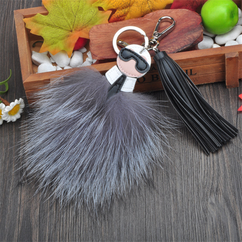 New 2016 Real Fox Fur Inspired Lafayette Keychain Keyring Trinket with Leather Tassel doll Monster charms