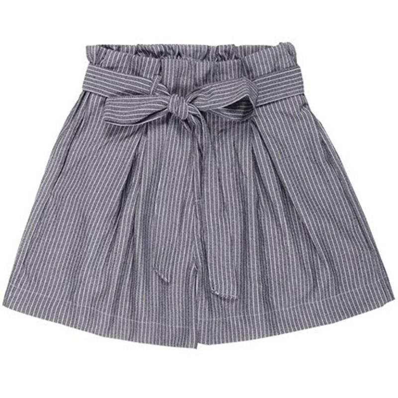 Qiukichonson Summer Striped Shorts Korean Style Women Bowknot Pockets Ruffle Vintage Wide Leg Casual Shorts High Waisted