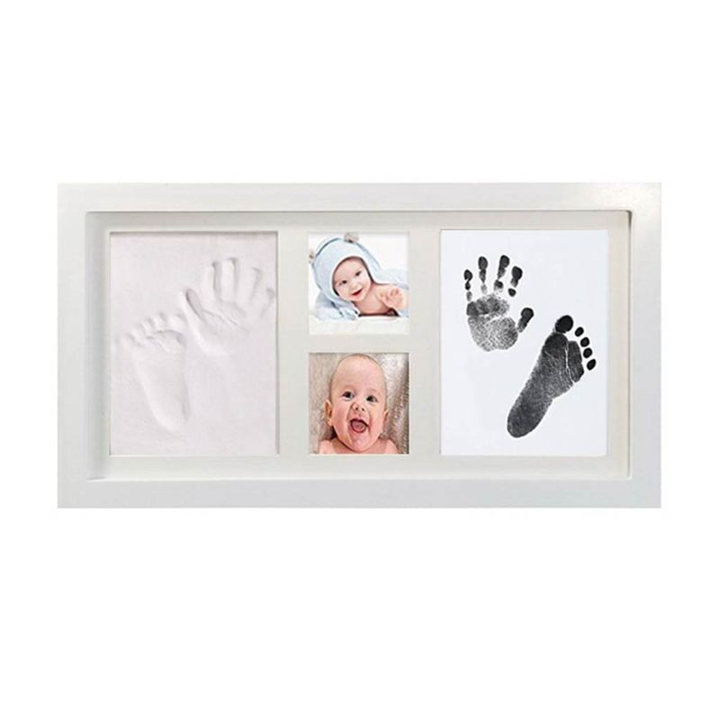Baby Children Kid Foot Hand Finger Wood Photo Frame Set Print Clay Ink Kit Gift Memory