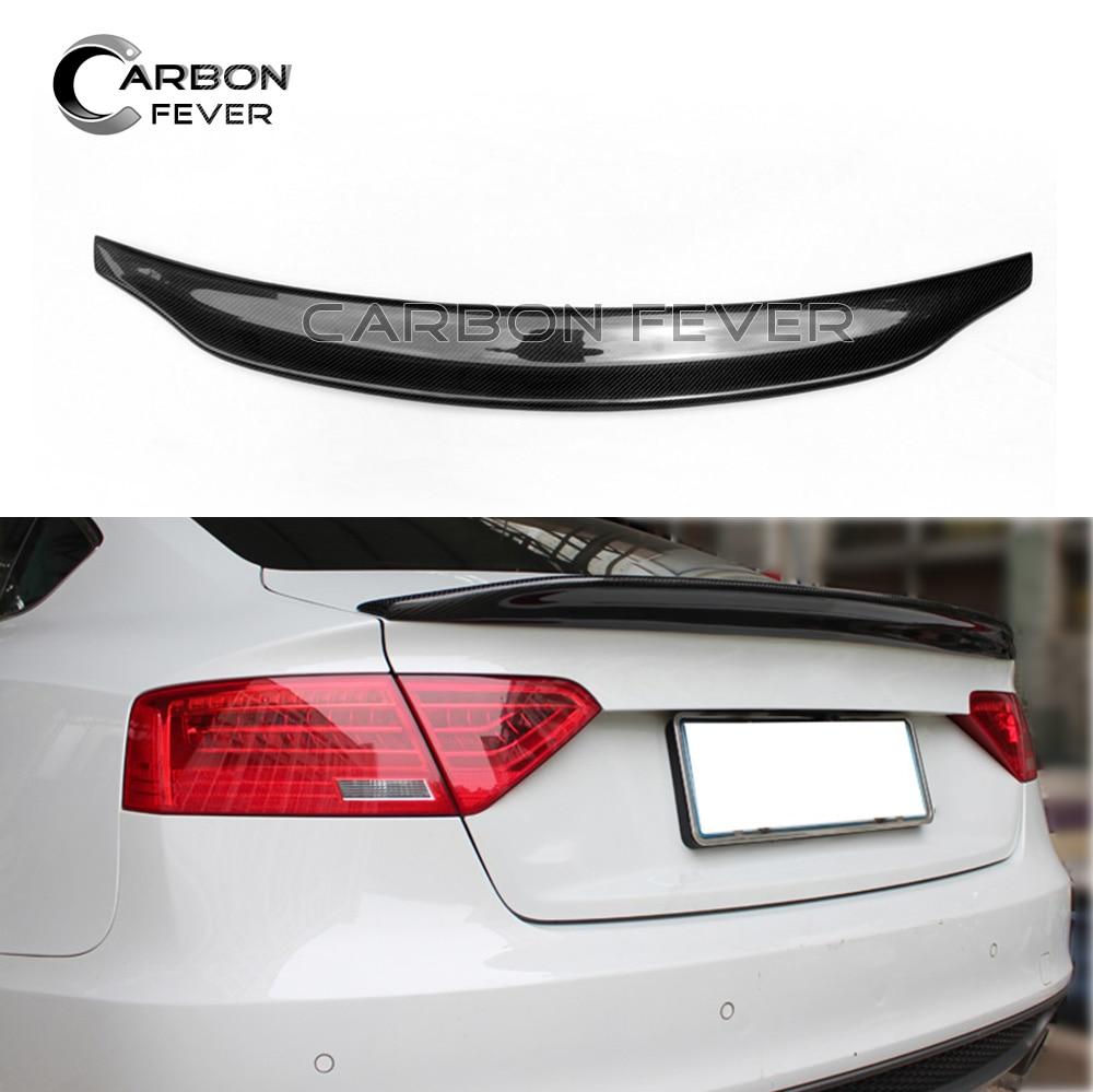 S5 углеродного волокна спойлер крыло багажник крышка для Audi A5 S5 4 двери Sportback 2009-2016