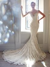 2015 Wedding Dresses  Mermaid V-neck  Sleeveless Chapel Train Sheath Spaghetti vestido noiva casamento