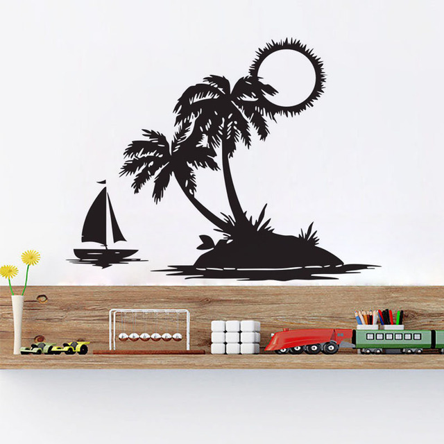 Sun Beach Palm Tree Wall Stickers Scenery Sofa Background Wall Decor Vinyl Art  Decals Sailboat Home