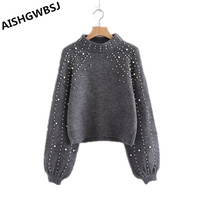 2018 New Round Neck Loose Sweater Women's Short Pearl Decorative Lantern Sleeve Knitted Sweaters Women Autumn and Winter WR104