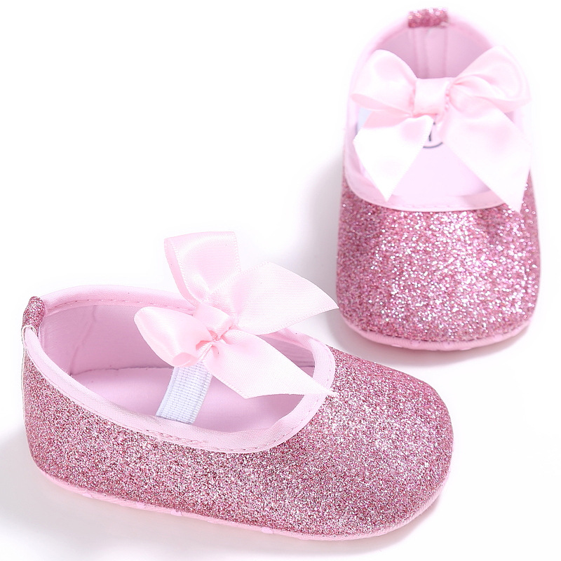 a8d9e21990566 Fashion Baby Girl Shoes Solid Bling Soft Bottom First Walkers 0-18 Month  Anti-slip Toddler Princess Dress Shoes Baby Moccasins