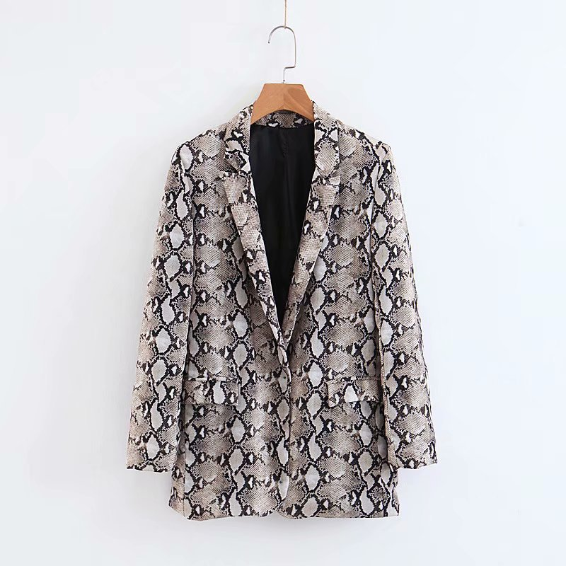 Women Snake Skin Print Blazer 2018 Pockets Notched Collar Long Sleeve Blazer Coat Female Autumn Wear Office Work Outerwear Tops