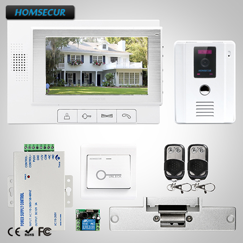 HOMSECUR 7 Wired Hands-free Video Door Entry Security Intercom+White Camera TC011-W + TM702-W homsecur 8 wired hands free video door entry security intercom lcd color screen tc011 w tm801r b