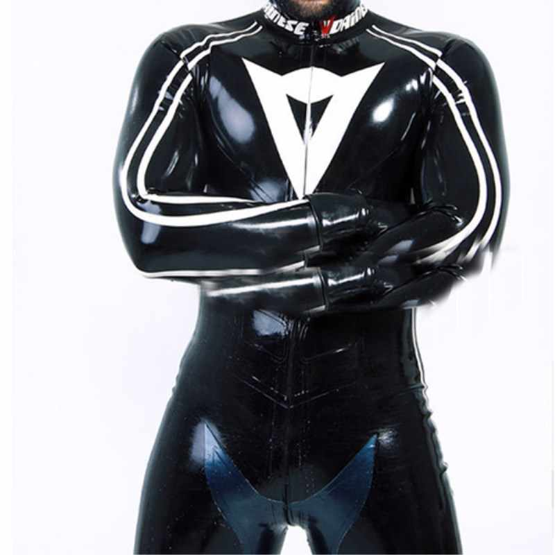2019 Men Latex Natural 100% Rubber Sexy Full Body Black White Latex Catsuit Unisex Latex Bodysuits Customize XXS-XXL