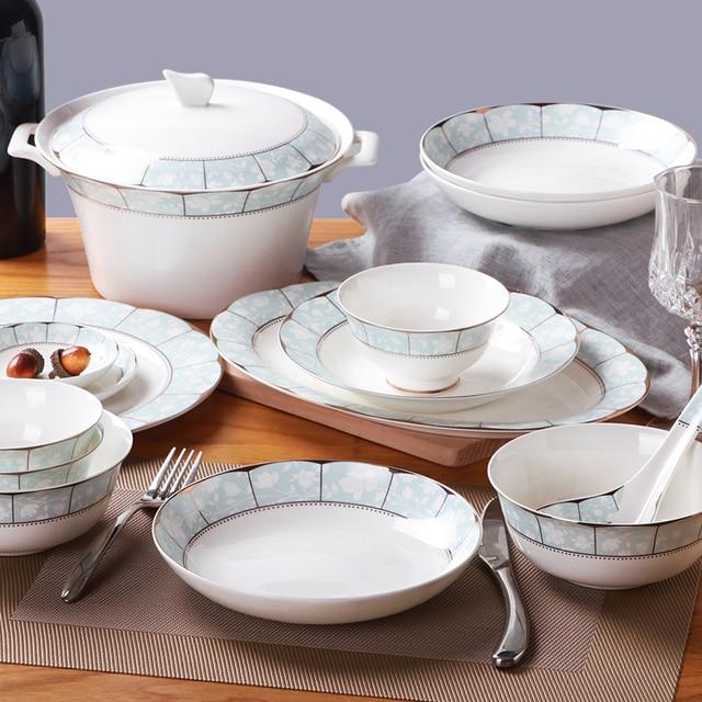 Jingdezhen 60 pcs ceramic tableware Western style dishes sets High grade bone china dinnerware sets Fashion & Jingdezhen 60 pcs ceramic tableware Western style dishes sets High ...