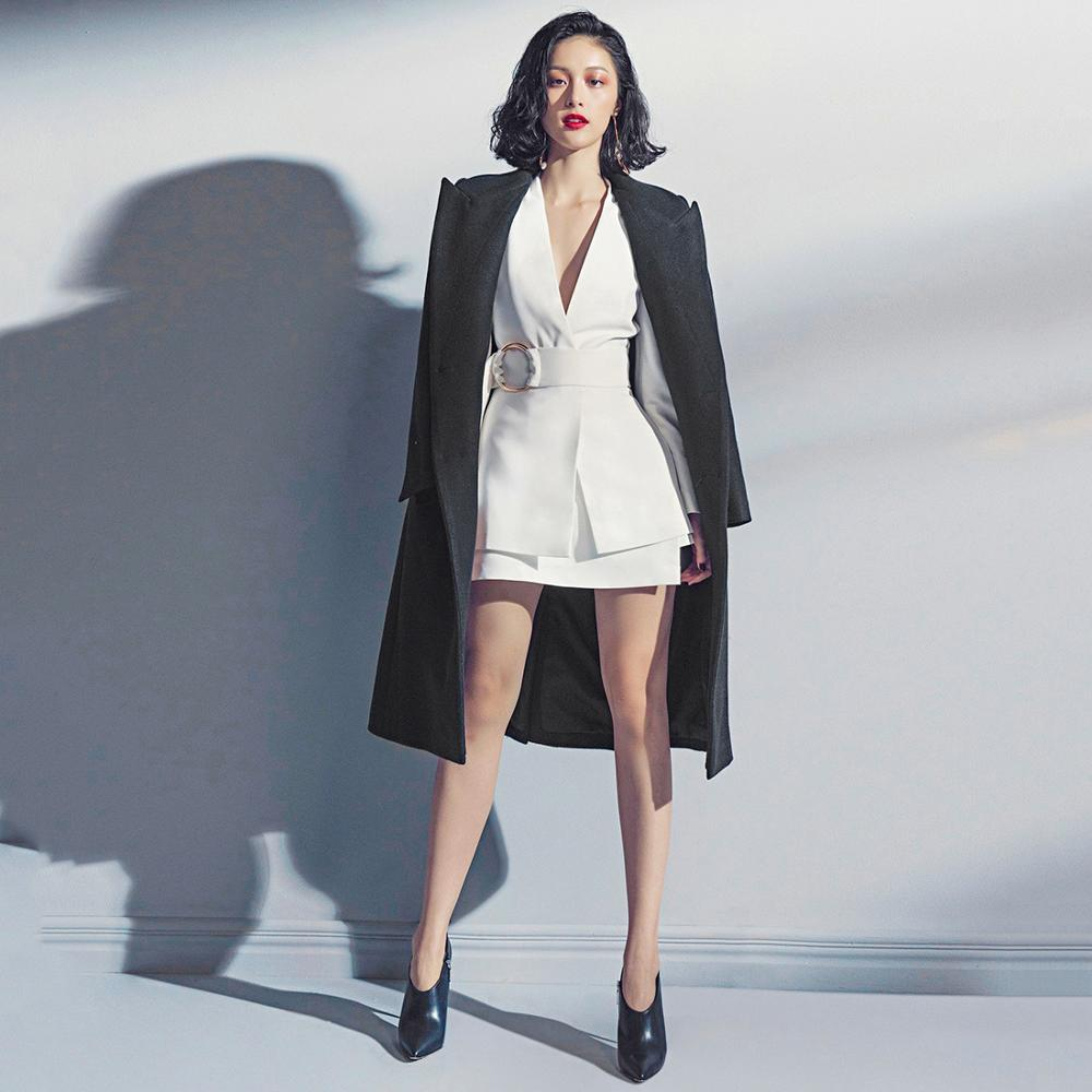 European Women Casual Skirt Suits Long Blazers Short Skirt White Twin Sets Cheap Price Plus Size Quality Two Pieces Set 4