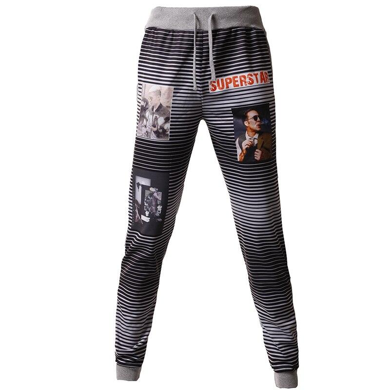 T-bird New 2017 Brand Casual Joggers Pinstripe Pattern Printing Compression Pants Men Cotton Trousers Calabasas Sweatpants Mens
