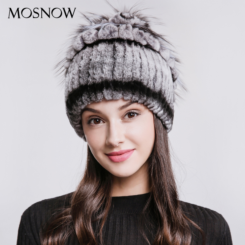 MOSNOW Real Rex Rabbit Fur Women's Hats Vogue 2018 New Fashion Flower Top Winter Warm Hat Female   Skullies     Beanies   #PCM717
