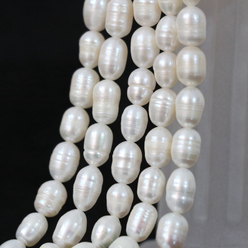 Hot sale charms 7-8mm white natural rice freshwater pearls high grade weddings loose beads jewelry making 15inch B1341