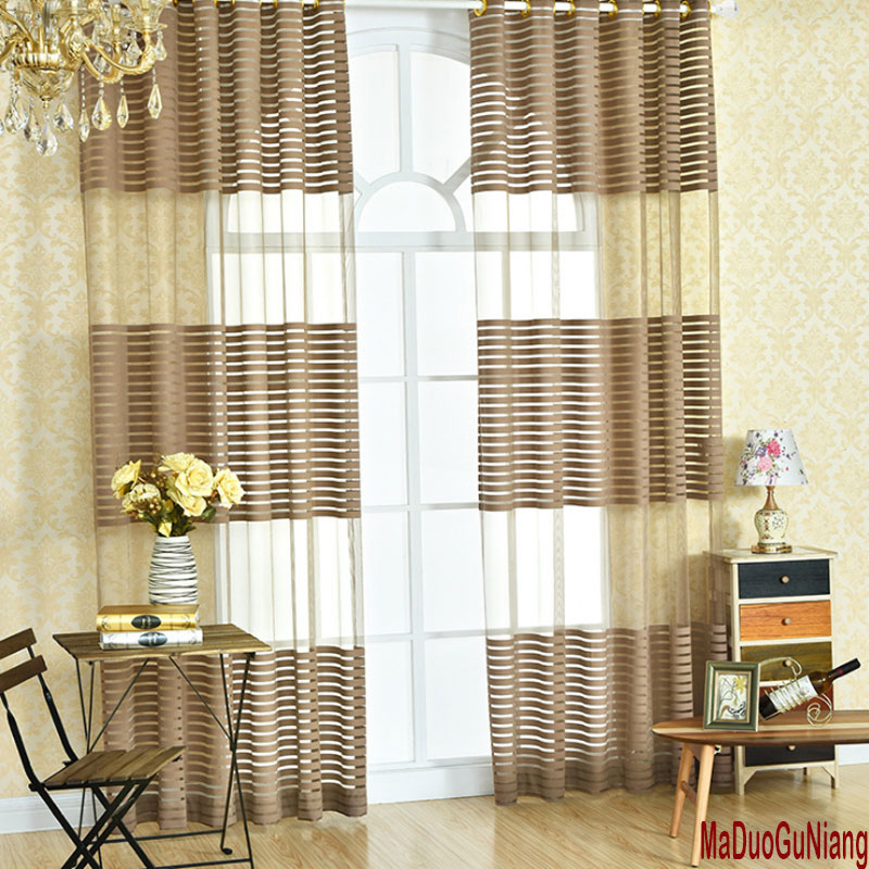 2016 Cafe Kitchen Curtains Voile Window Blind Curtain Owl: Striped Sheer Voile Tulle Window Screening Blinds Gauze Curtains For Kitchen Cafe Hotel Balcony