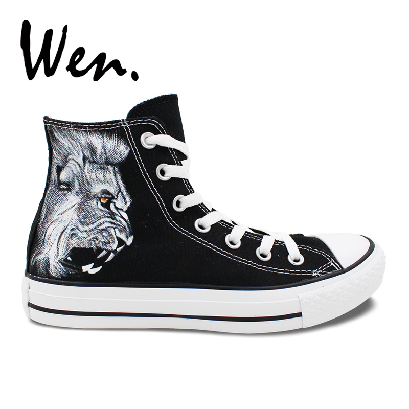 Wen Original Design Custom Black Hand Painted Shoes Lion Men Women s High  Top Canvas Sneakers for Christmas Birthday Gifts 0f5041be5