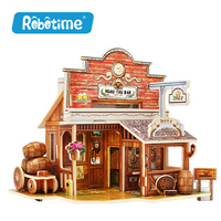 Robotime Wooden Woodcraft Construction Kit Assemble DIY Christmas Birthday Gift Home Decor American Style House 2017