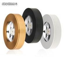 цена на 7W 10W 12W COB LED puck light White/Black/Gold Shell ultra thin round LED under cabinet light kitchen lamp 85-265V None driver