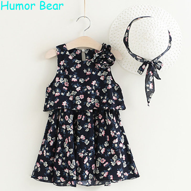 Humor Bear Summer Girls Dress 2017  New Kids Dresses Broken Flower Sleeveless Beach Dress Send A Hat Children Clothing