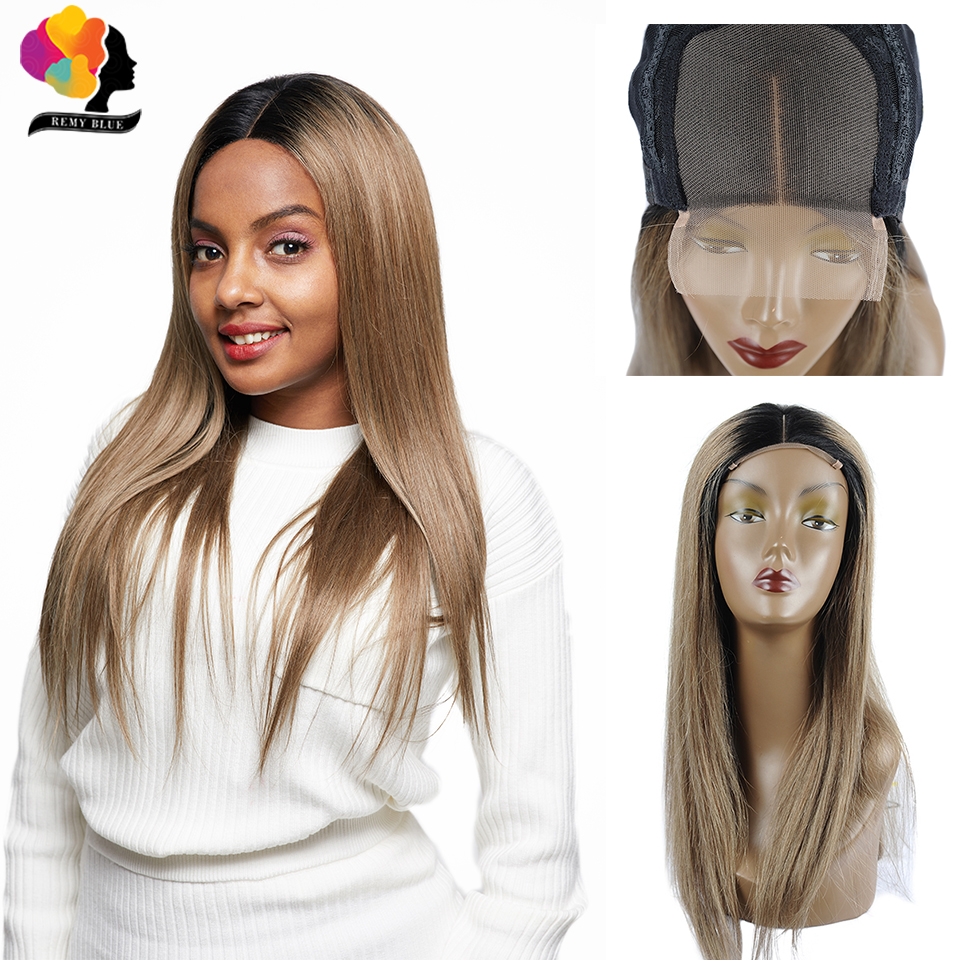 Remyblue 4*4 Ombre Blonde T1B/126 Straight Hair Lace Closure Wigs For Black Women 180 Density Brazilian Remy Lace Human Hair Wig