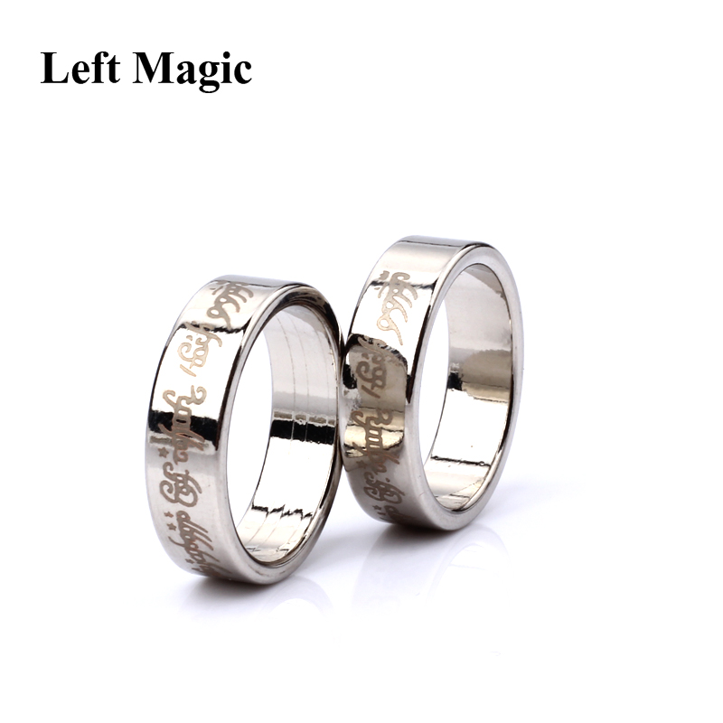 Alfabet Silver Sterk Magnetic Magic Ring Magic Tricks 18/19/20 / 21MM Storlek Myntfinger Trollkarl Magic Props Visa Tool Magic Toys