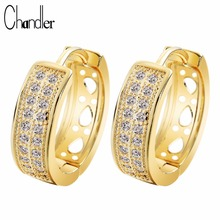 Chandler Cubic Zirconia Round Hoop Earrings Gold Filled Clear CZ Luxurious Bridge Wedding Gifts 2017 Summer Jewelry Loop Luxury