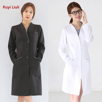 White gown doctor's uniform long sleeves beauty salon uniform dental plastic surgery hospital uniform