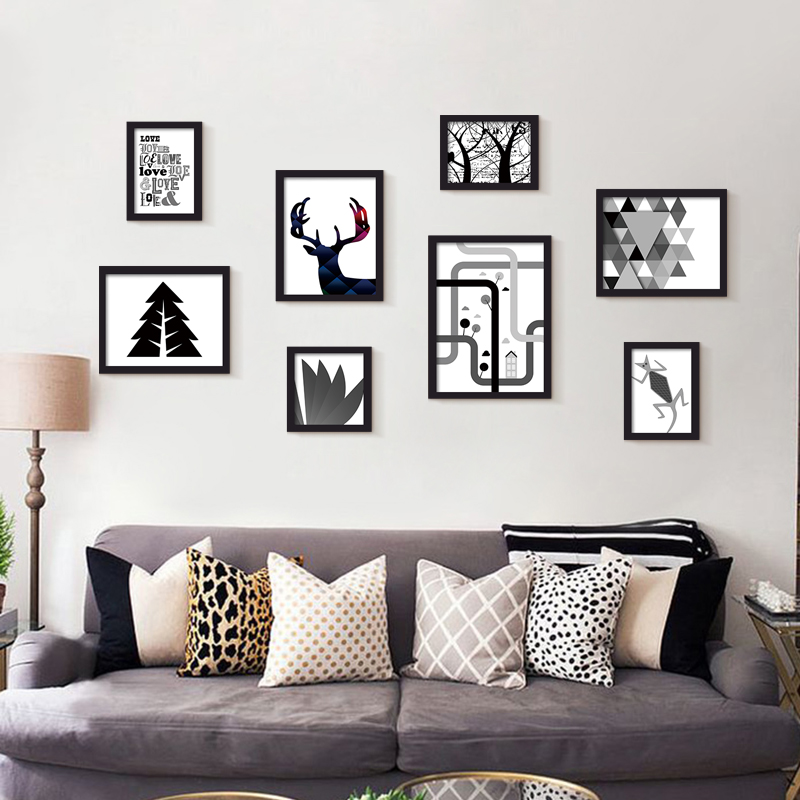 Modern Minimalist Black White Abstract Animals Family Canvas Large A4  Poster Print Nordic Wall Art Home