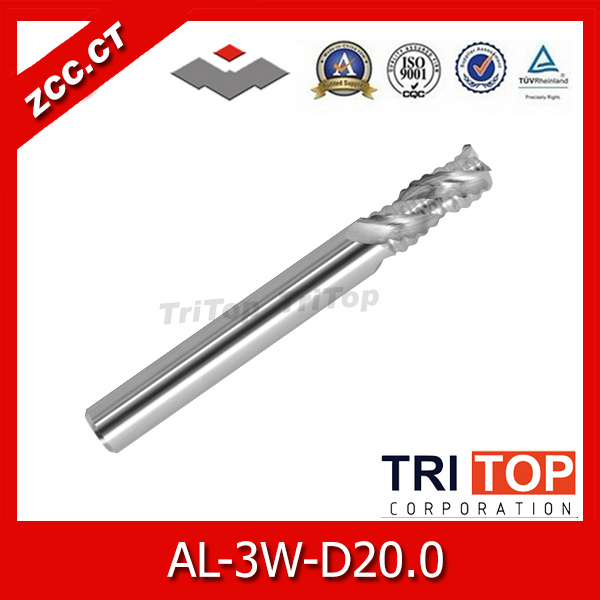 rough machining of Al alloy ZCCCT AL-3W-D20.0 solid carbide 3 flute flattened end mills with straight shank and corrugated edges