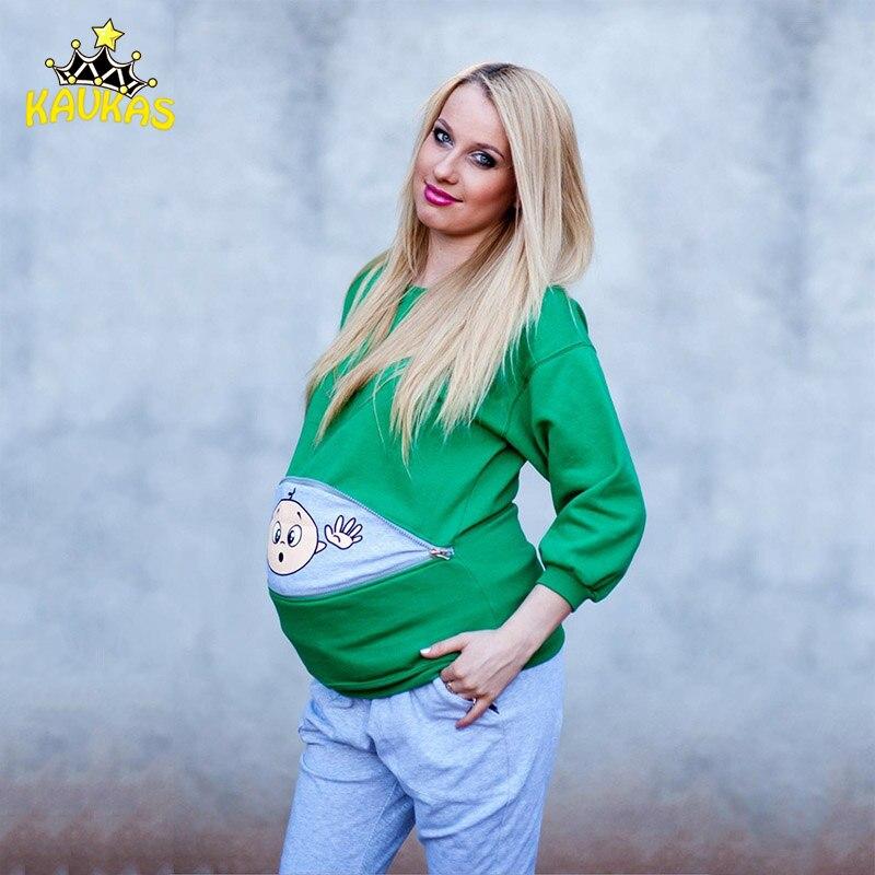 KAVKAS Maternity Clothes O-neck Female T-shirt Full Sleeve Tops Cotton Funny Pattern Print Pregnant Women Breastfeeding Clothing self tie stripe pattern v neck shirt