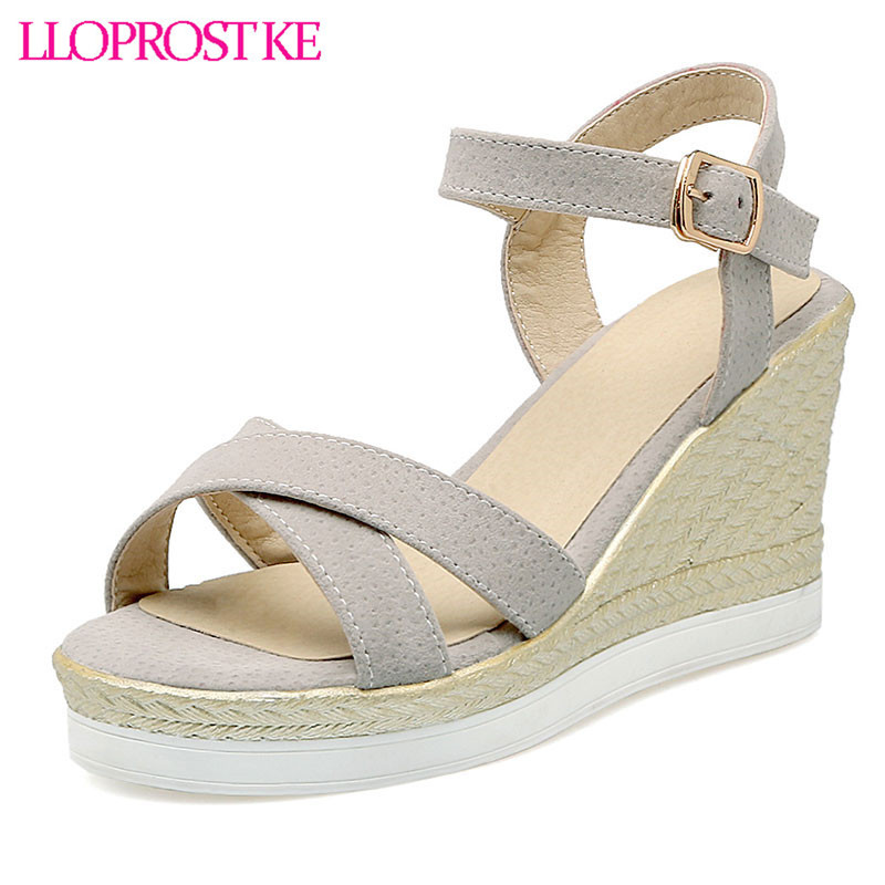 LLOPROST KE Fashion Woman   shoes Summer style female sandals high wedges heels platform open toe platform casual shoes dxj2193 women sandals shoes 2017 summer shoes woman gladiator wedges cool fashion rivet platform female ladies casual shoes open toe