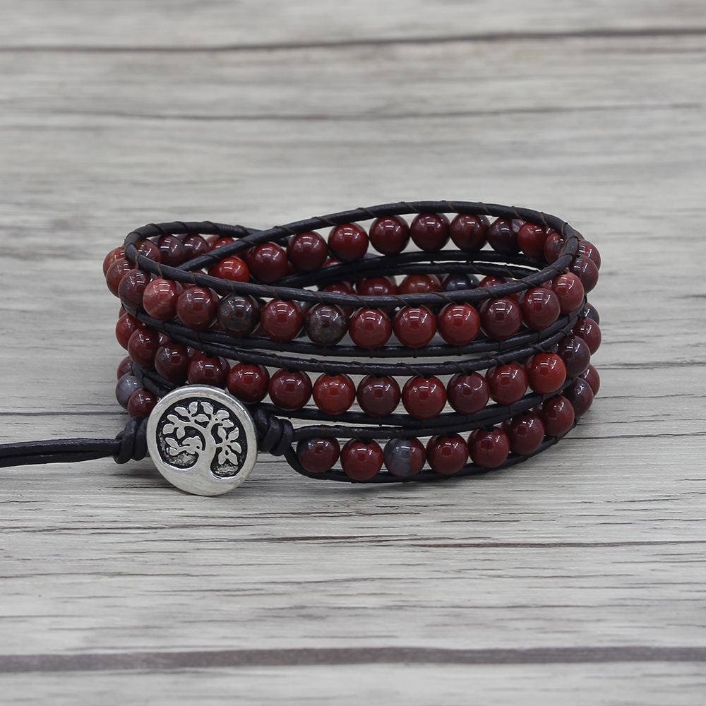 Red stone beads bracelet leather wraps beaded bracelet 3 wraps beads bracelet yoga jewelry gupsy wrap red beads dropshipping
