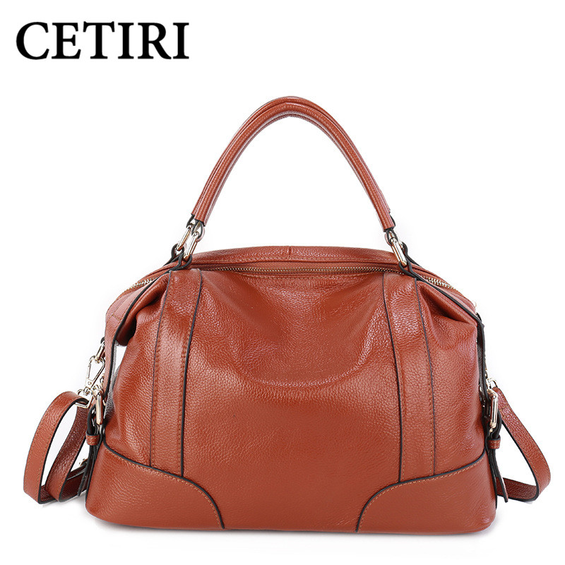 ФОТО Women Natural Leather Handbags Real Cow Genuine Leather Bags Female Brand Vintage Tote Bag First Layer Of Cowhide Messenger Bags