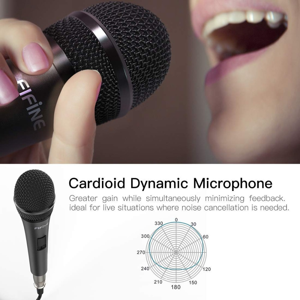 Fifine Dynamic Microphone for Speaker Vocal Microphone for Karaoke with On/Off Switch Includes 14.8ft XLR   to 1/4'' Connection 3