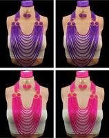 African Wedding Beads Bridal Jewelry Sets Polycyclic Crystal Nigerian Beads Necklace African Costume Jewelry Set Free Shipping